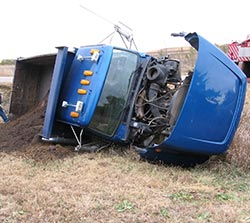 A big truck tipped over